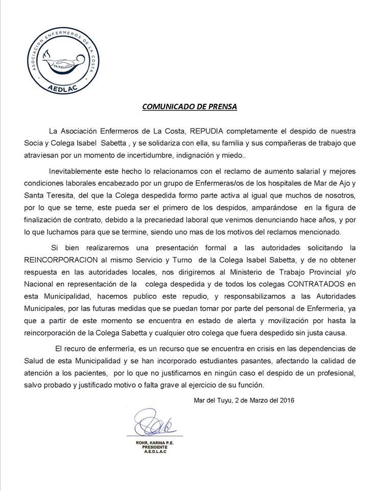 Comunicado de la Asociación de Enfermeros de La Costa